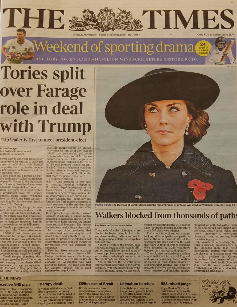 Times front page Kate Duchess of Cambridge