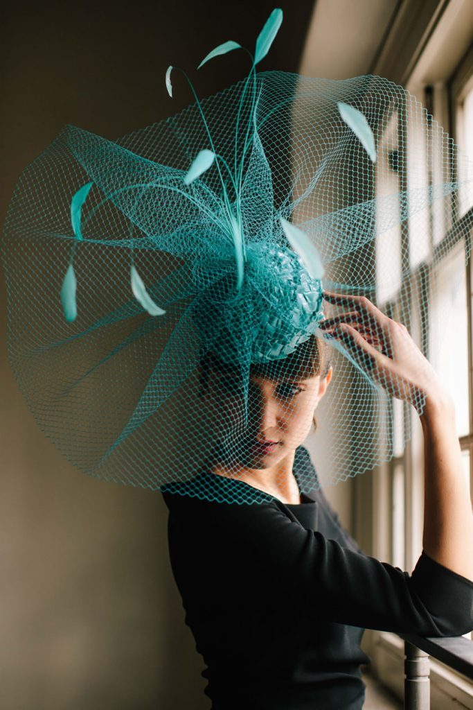 huge blue green fountain hat