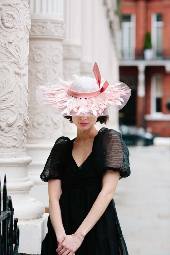 pink feather couture hat